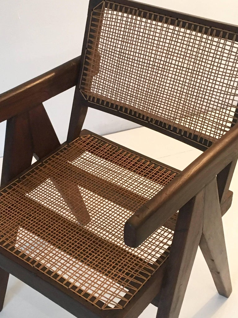 Teak Office Cane Chair Armchair by Pierre Jeanneret from Chandigarh For Sale 1