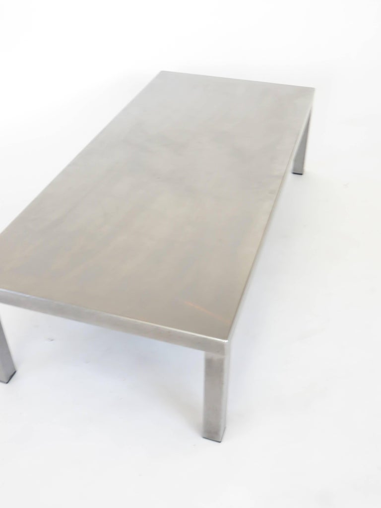 Maria Pergay Created With Marina Varenne Brushed Stainless Steel Coffee Table  In Excellent Condition For Sale In Chicago, IL