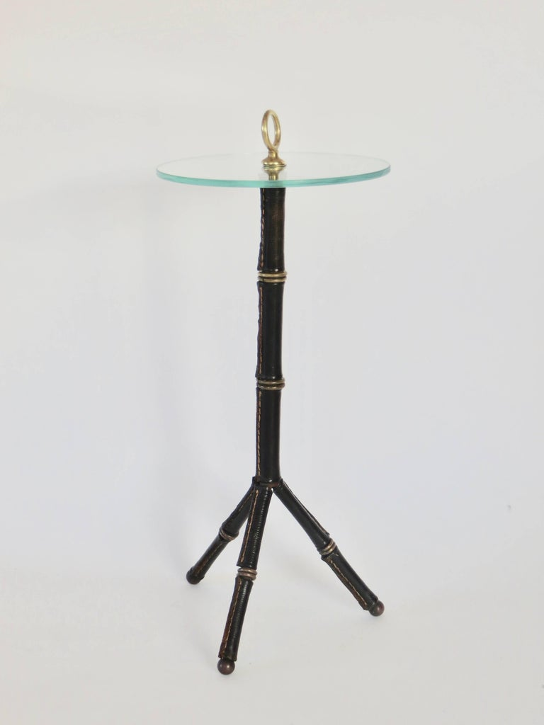 Jacques Adnet Leather Bamboo Motif Tripod Side or Drink Table 3