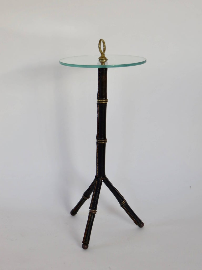 Jacques Adnet Leather Bamboo Motif Tripod Side or Drink Table 2