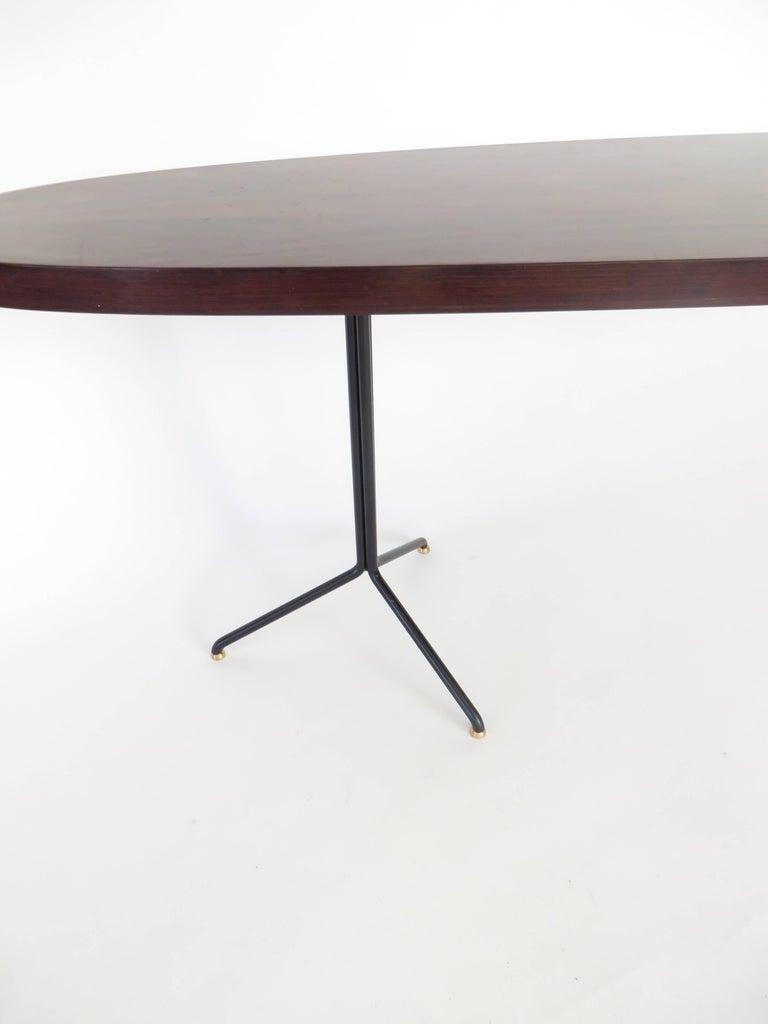 Pair of Osvaldo Borsani for Tecno Oval Rosewood Coffee Tables on Metal Legs 10