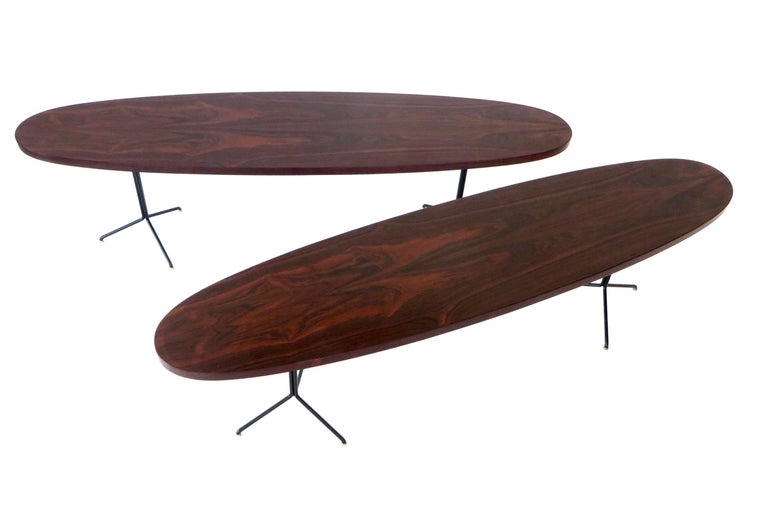 Osvaldo Borsani for Tecno Oval Rosewood Coffee Tables on Metal Legs In Excellent Condition For Sale In Chicago, IL