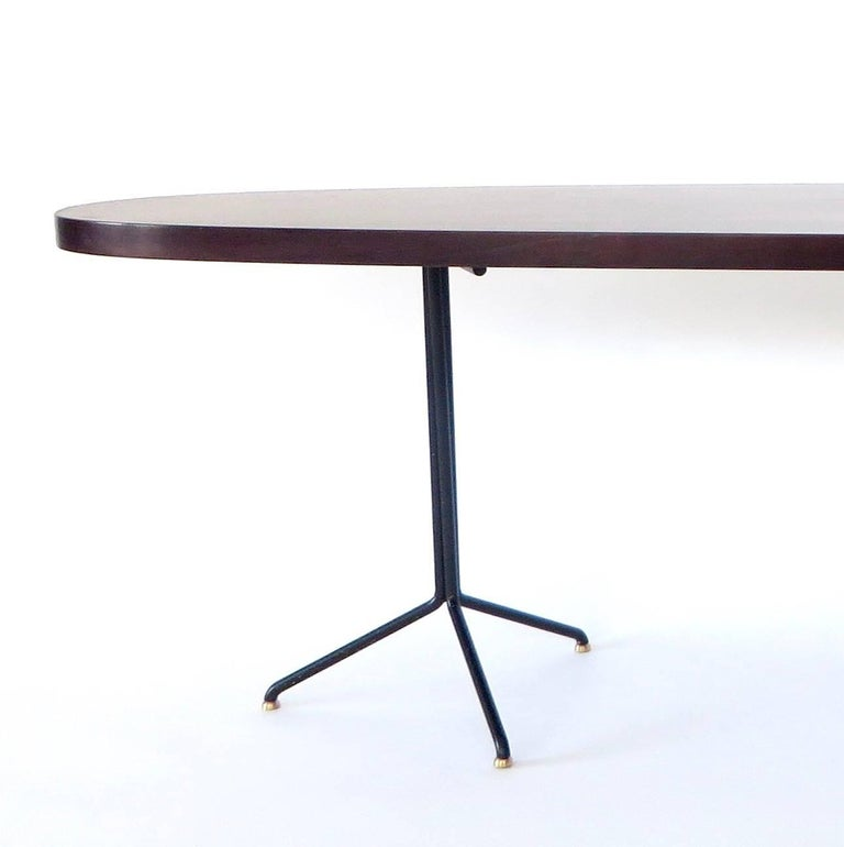 Osvaldo Borsani for Tecno Oval Rosewood Coffee Tables on Metal Legs For Sale 4
