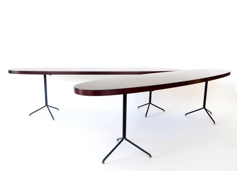 Italian Pair of Osvaldo Borsani for Tecno Oval Rosewood Coffee Tables on Metal Legs For Sale