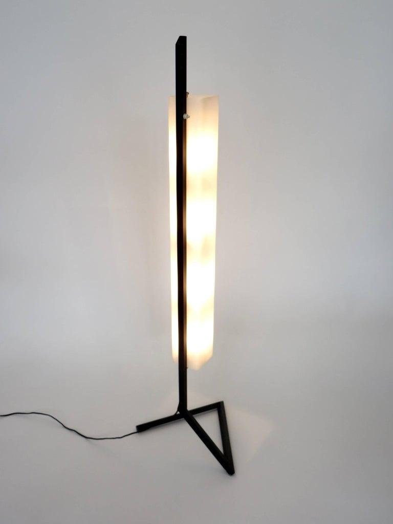 Mid-20th Century Italian Floor Lamp Rectangular Opaline Glass Black Iron Architectural Base For Sale