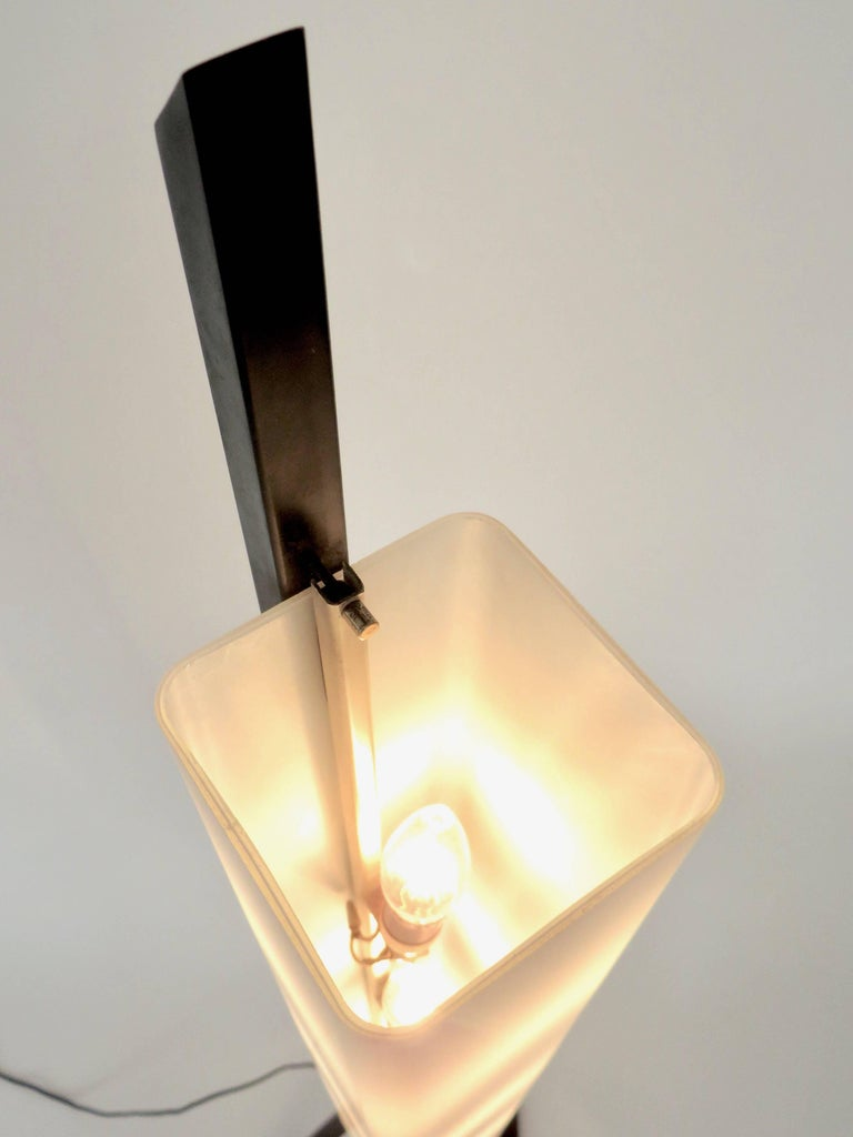 Italian Floor Lamp Rectangular Opaline Glass Black Iron Architectural Base For Sale 4