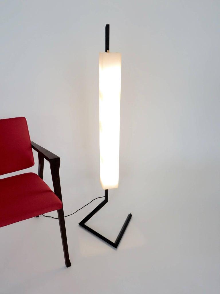 Italian Floor Lamp Rectangular Opaline Glass Black Iron Architectural Base For Sale 5