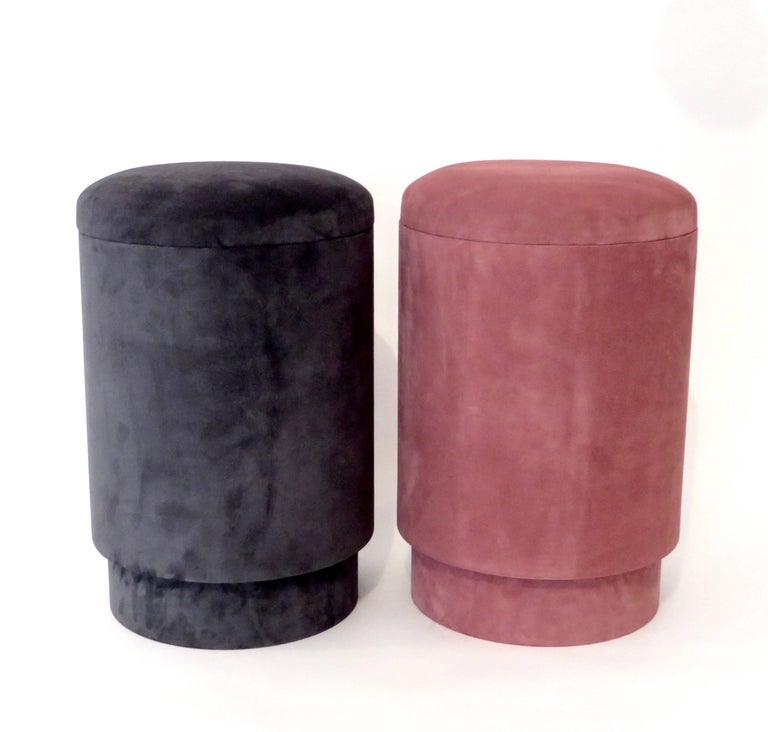 Micheal Verheyden Tabou Or Pouf With Storage In Pink Suede