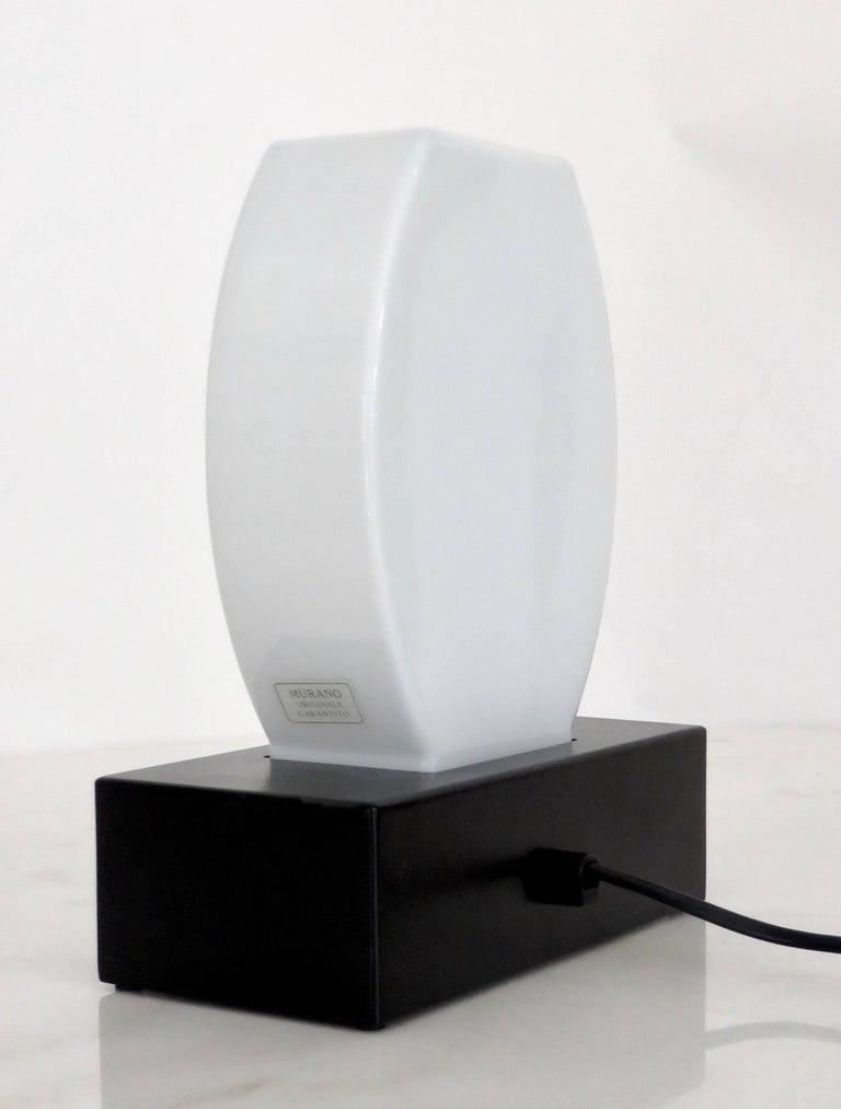 Steel Murano Glass Table Lamp Dorane by Ettore Sottsass for Stilnovo For Sale