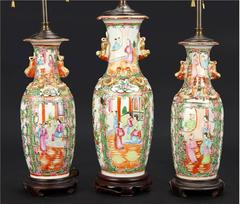 Three 19th Century Vases Mounted As Lamps