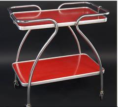 Mid-Century Bar Cart, Chrome Frame and Laminate Shelves