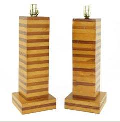 One Pair Midcentury Wood Cubed Lamps