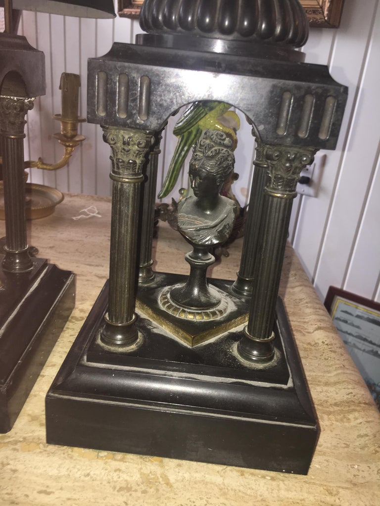 Grand Tour 19th Century Marble and Bronze Neoclassical Garnitures For Sale