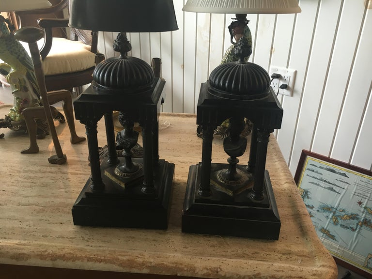 19th Century Marble and Bronze Neoclassical Garnitures For Sale 1