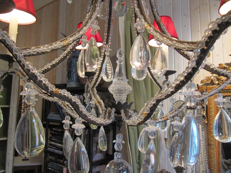 Louis XVI Beaded Wrought Iron Six-Light Chandelier For Sale