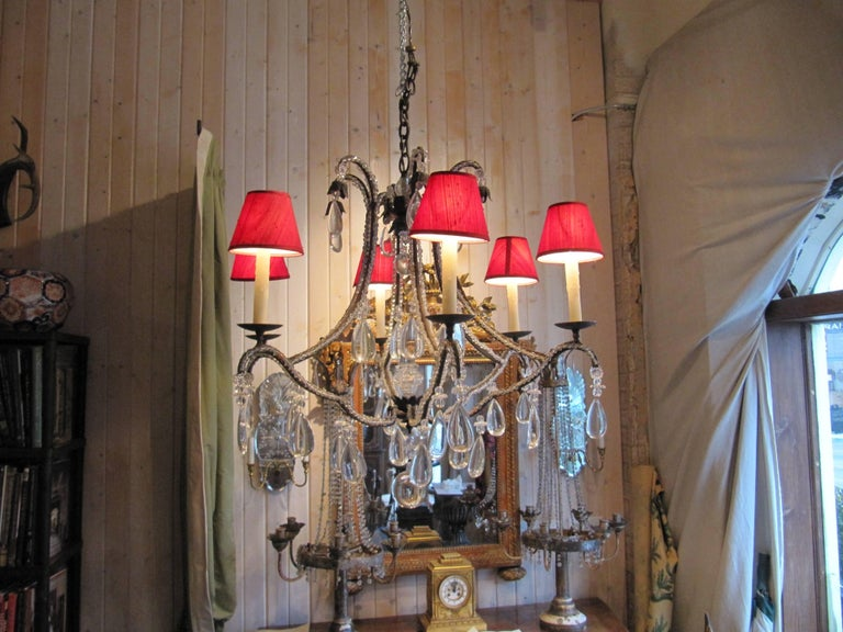 Beaded Wrought Iron Six-Light Chandelier In Excellent Condition For Sale In Buchanan, MI