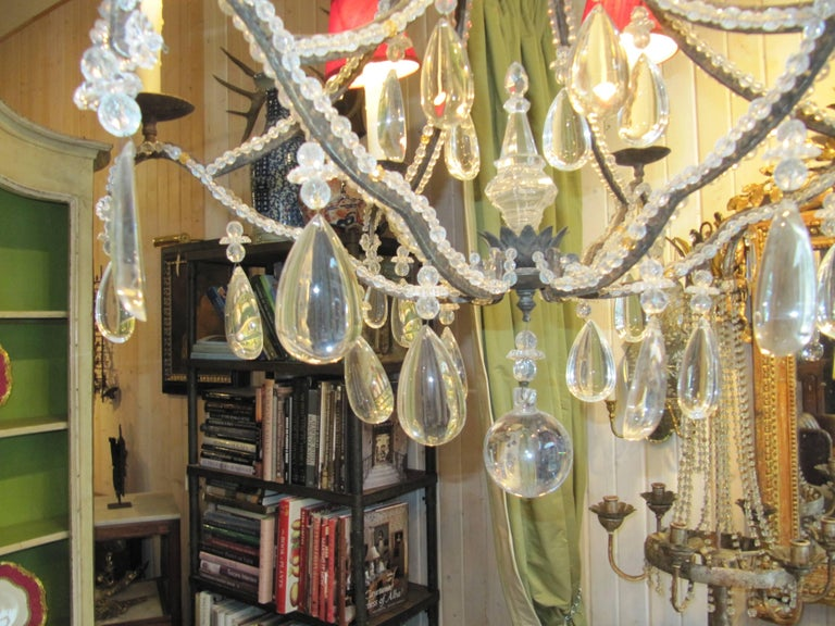 20th Century Beaded Wrought Iron Six-Light Chandelier For Sale