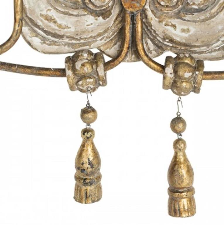 Rococo Elegant Set of Six Italian Style Two-Arm Sconces with Lovely Worn Finish For Sale