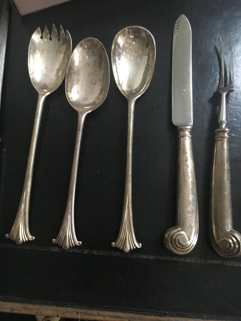 Extensive English Sterling Silver Flatware Service for 12 For Sale 3