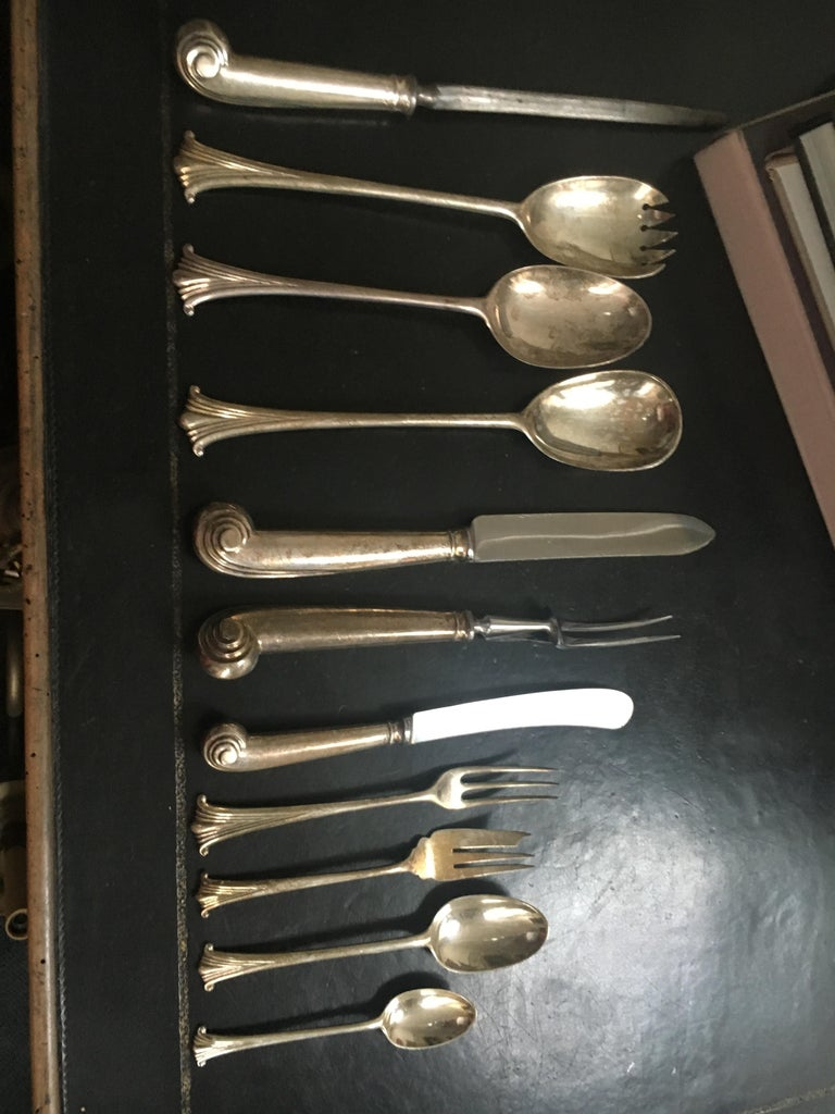 Extensive English Sterling Silver Flatware Service for 12 For Sale 6
