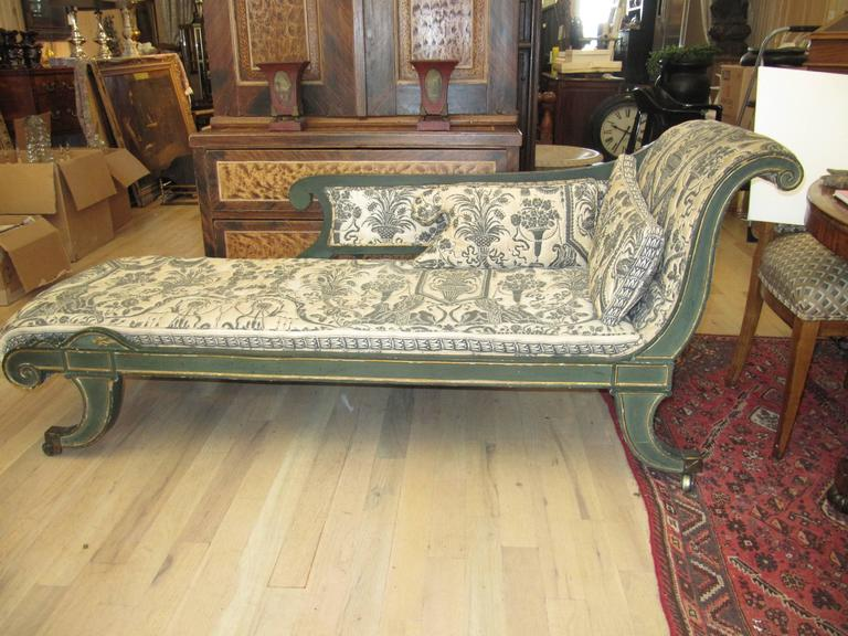 Charming early 19th century Regency chaise longues with painted decoration.