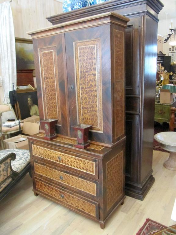 Exceptional American Faux Bois Step Back Cupboard, circa 1840 2