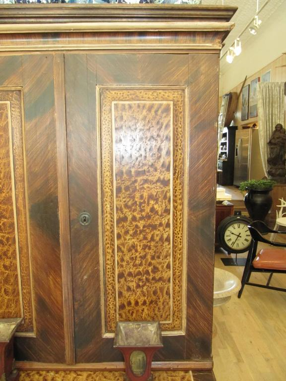 Exceptional American Faux Bois Step Back Cupboard, circa 1840 4