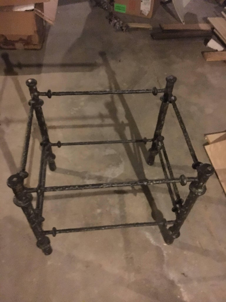 Alberto Giacometti Style Metal and Glass Side Table In Excellent Condition For Sale In Buchanan, MI