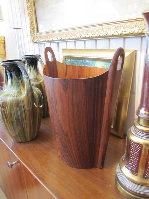 Mid-Century Modern Very Chic APS Heggen Norwegian Rosewood Paper Basket For Sale