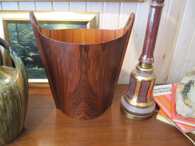 20th Century Very Chic APS Heggen Norwegian Rosewood Paper Basket For Sale