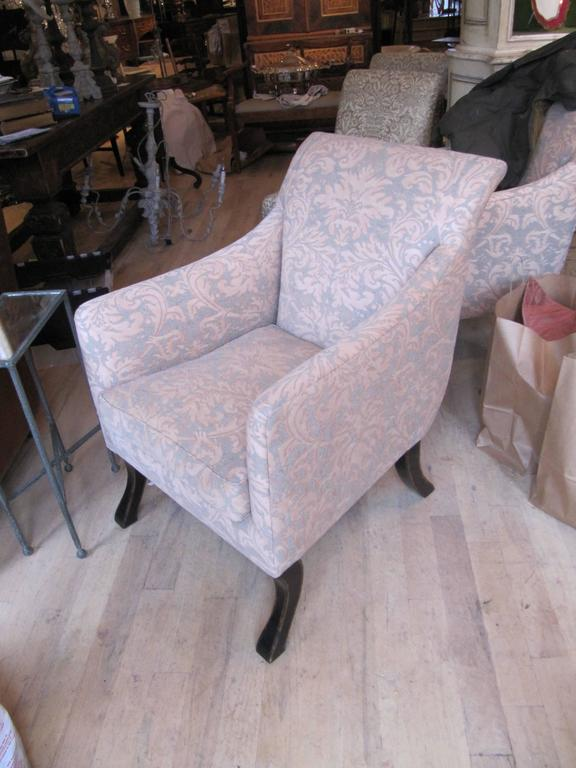 Exceptional pair of Rose Tarlow armchairs covered in Fortuny fabric.