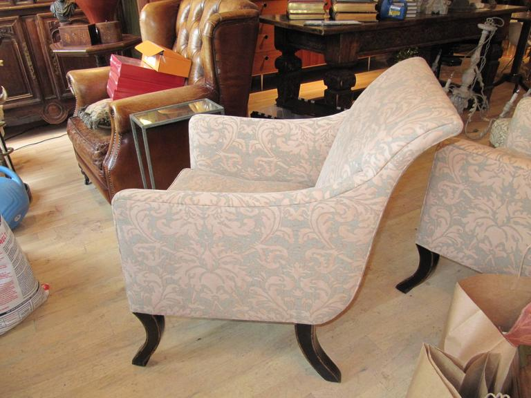 Exceptional Pair of Rose Tarlow Armchairs Covered in Fortuny Fabric 3