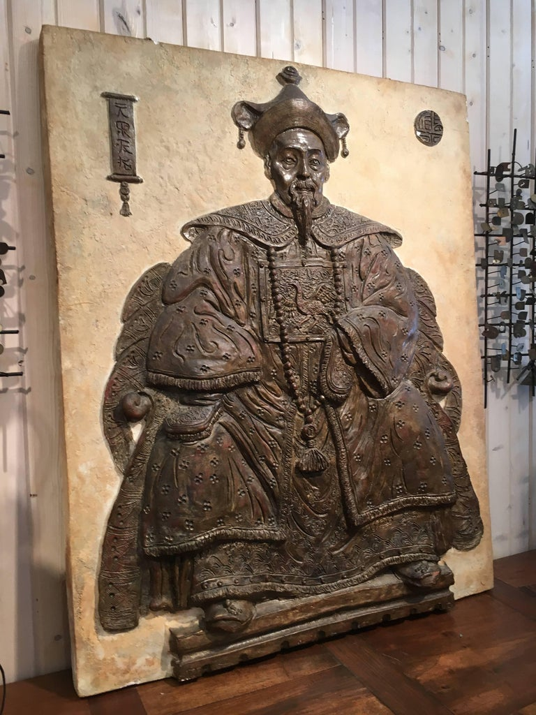 Monumental Chinese Export bas relief of seated scholar, great detail with very good dimensional depth.