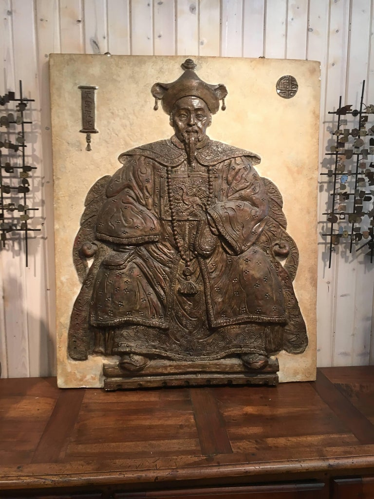 Monumental Chinese Export Bas Relief of Seated Scholar For Sale 3