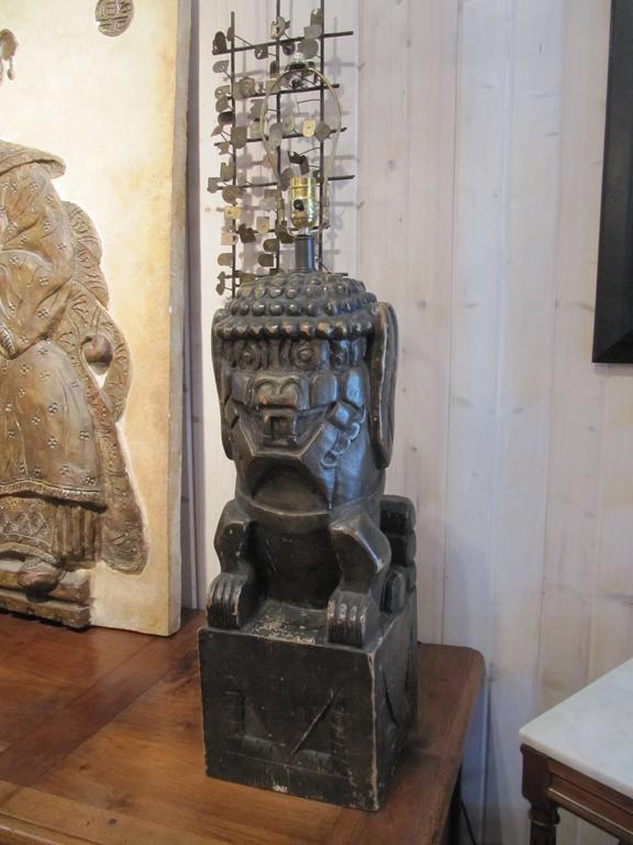 One Pair of Monumental Carved Wood Foo Dogs Mounted as Lamps 2