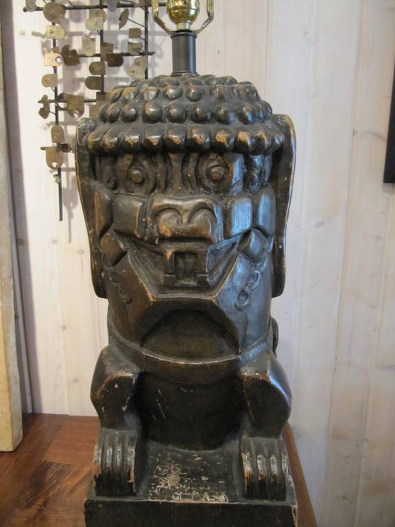 One Pair of Monumental Carved Wood Foo Dogs Mounted as Lamps 3