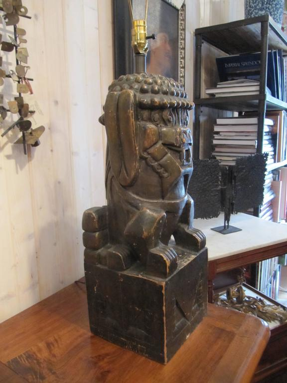 One Pair of Monumental Carved Wood Foo Dogs Mounted as Lamps 4