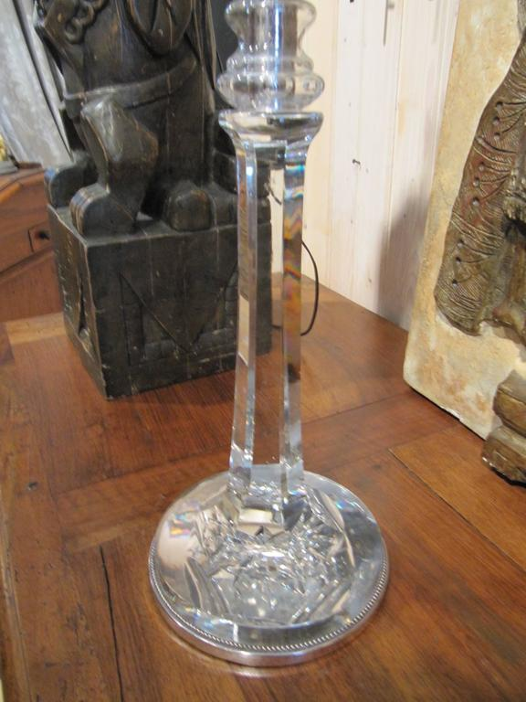 English Cut Crystal Columnar Lamp with Silver Base Detail 2
