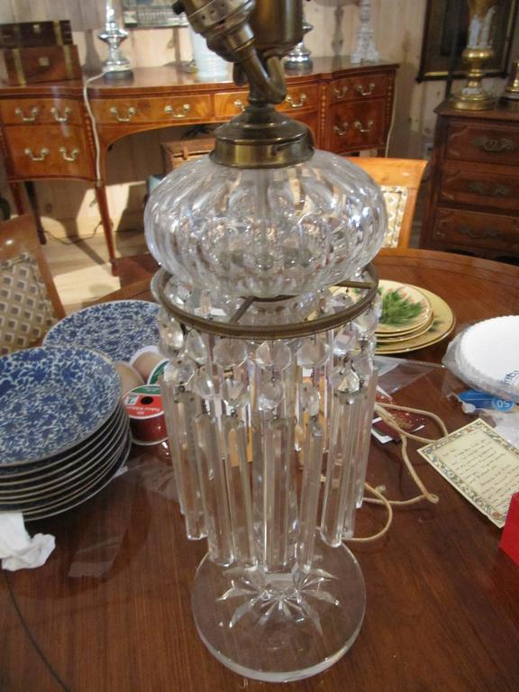 Handsome 19th Century English Cut Crystal Oil Lamp Mounted as Lamp 2