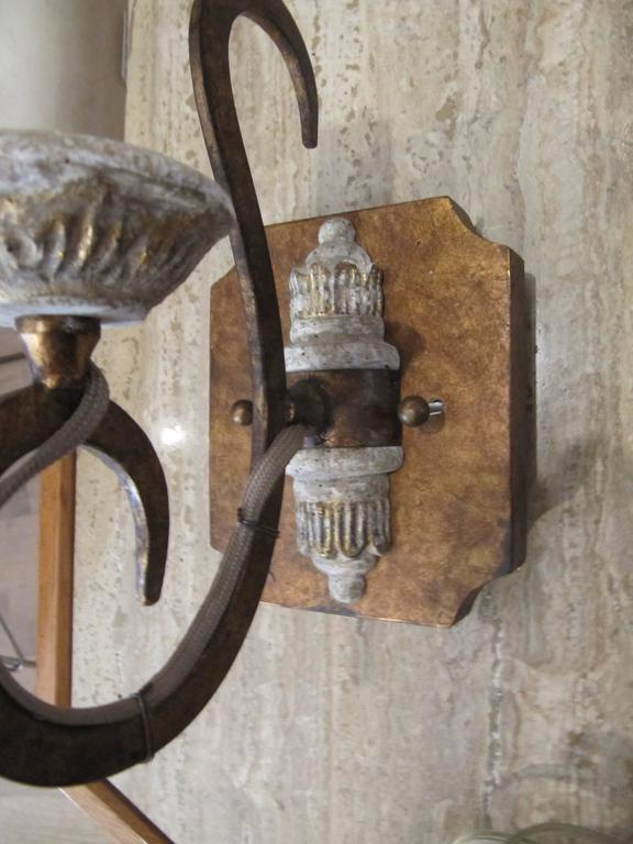 Charming Set of Six Italian Style Carved Wood and Gilt Metal Single Arm Sconces In Excellent Condition For Sale In Buchanan, MI