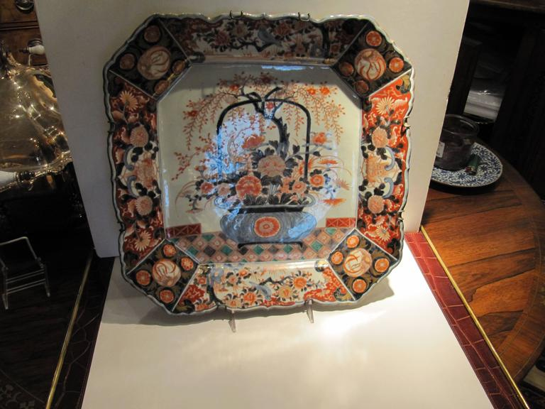 19th Century Japanese Imari Porcelain Square Charger of Impressive Scale 2