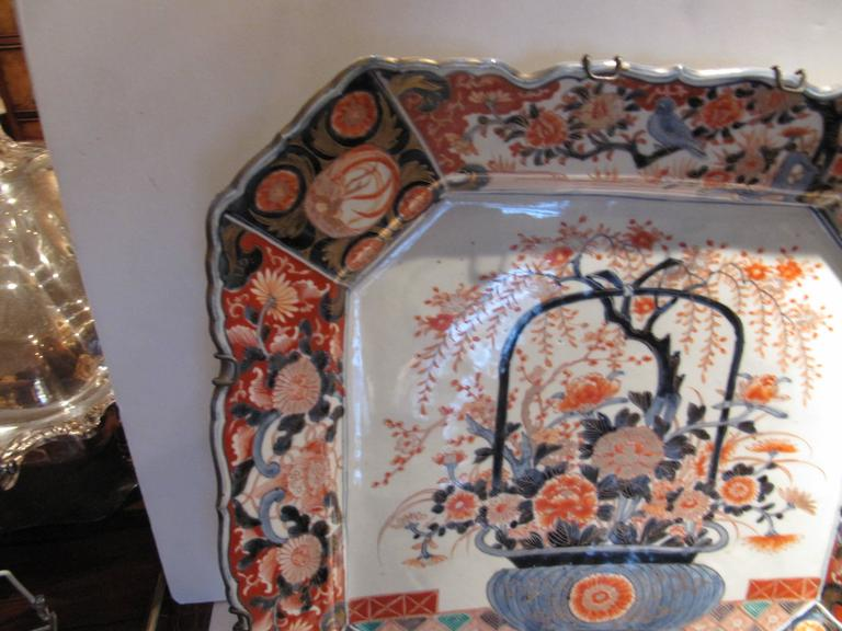 19th Century Japanese Imari Porcelain Square Charger of Impressive Scale 3