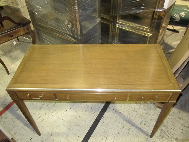 Very Chic Mid-Century Mahogany and Brass Inlayed Writing Table 2
