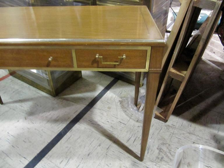 Very Chic Mid-Century Mahogany and Brass Inlayed Writing Table 3