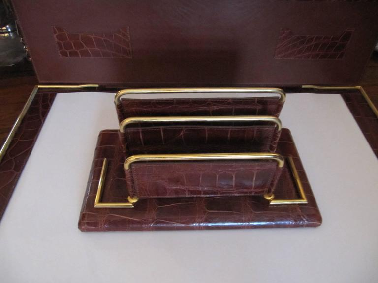 Leather Italian Alligator Desk Set in the Style of Hermes For Sale