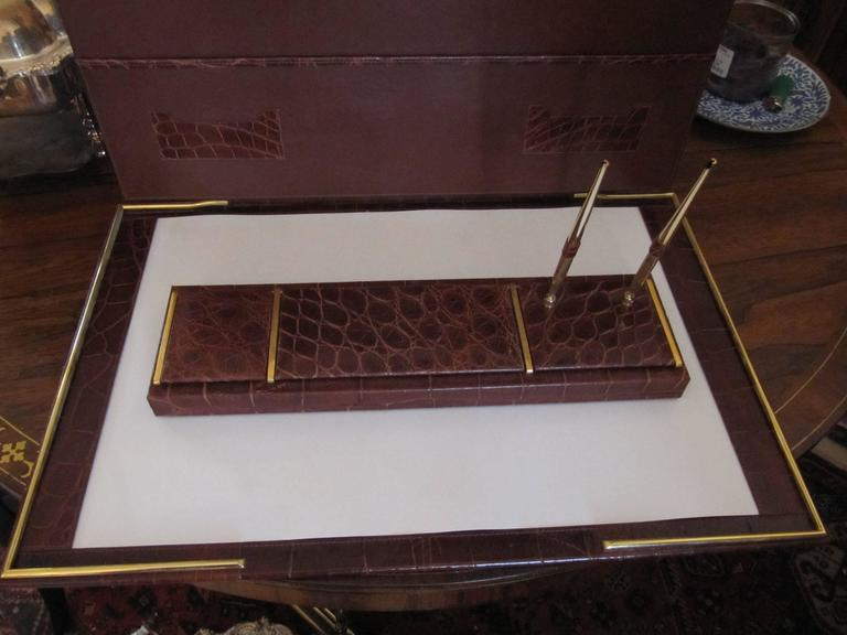 20th Century Italian Alligator Desk Set in the Style of Hermes For Sale