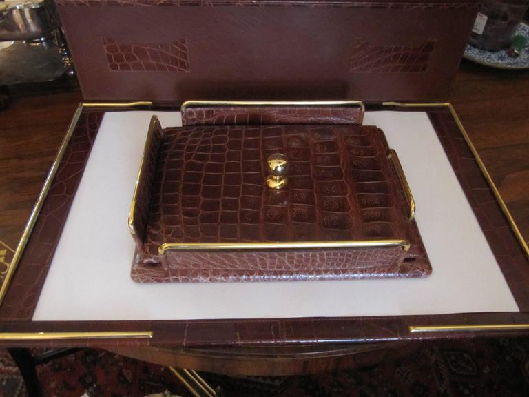 Italian Alligator Desk Set in the Style of Hermes For Sale 1
