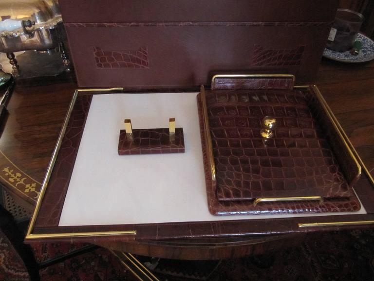 Italian Alligator Desk Set in the Style of Hermes For Sale 2