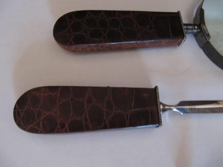 Handsome Letter Opener, Magnifying Glass with Alligator Handles, Sterling Mounts 3