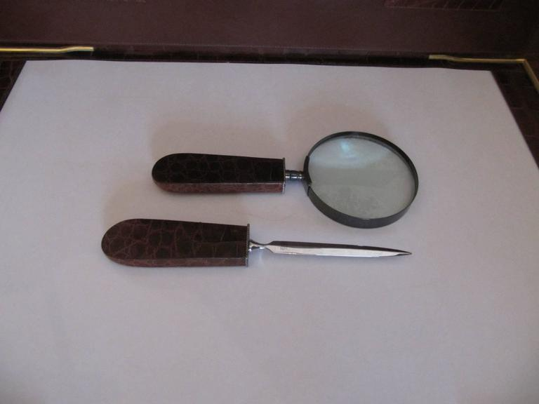 Handsome Letter Opener, Magnifying Glass with Alligator Handles, Sterling Mounts 4